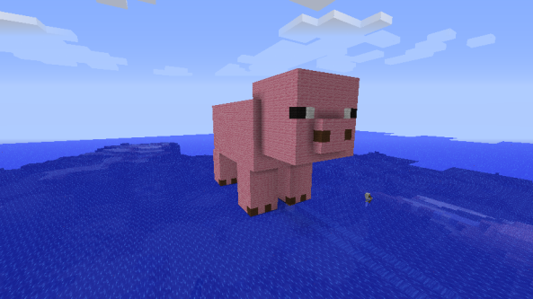And here is Tyler's art. Tyler built this lovely pig all by himself with the help of his model Mr. Bacon.
