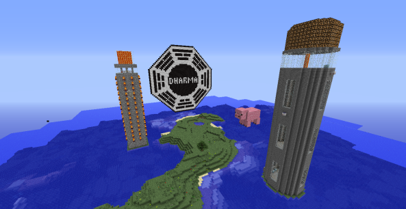 This is all the stuff we have built on our series. My old lighthouse, a new lighthouse, a pig, and a DHARMA logo.