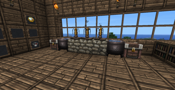 New brewing station. I have already made 9 splash potions of Instant Health II. Why? Because I can.