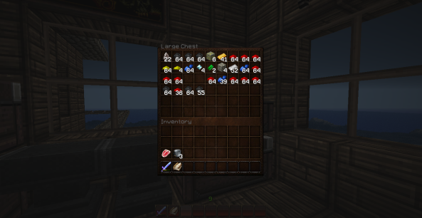 Lots of minerals now. I had 20 diamonds until I made a jukebox, chestplate and leggings.